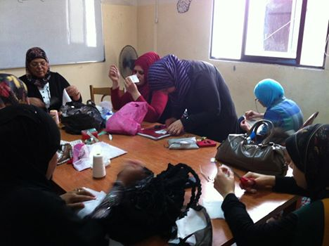 Palestinian women beneficiaries of Tatreez project in Ain El Helwe camp are attending their training