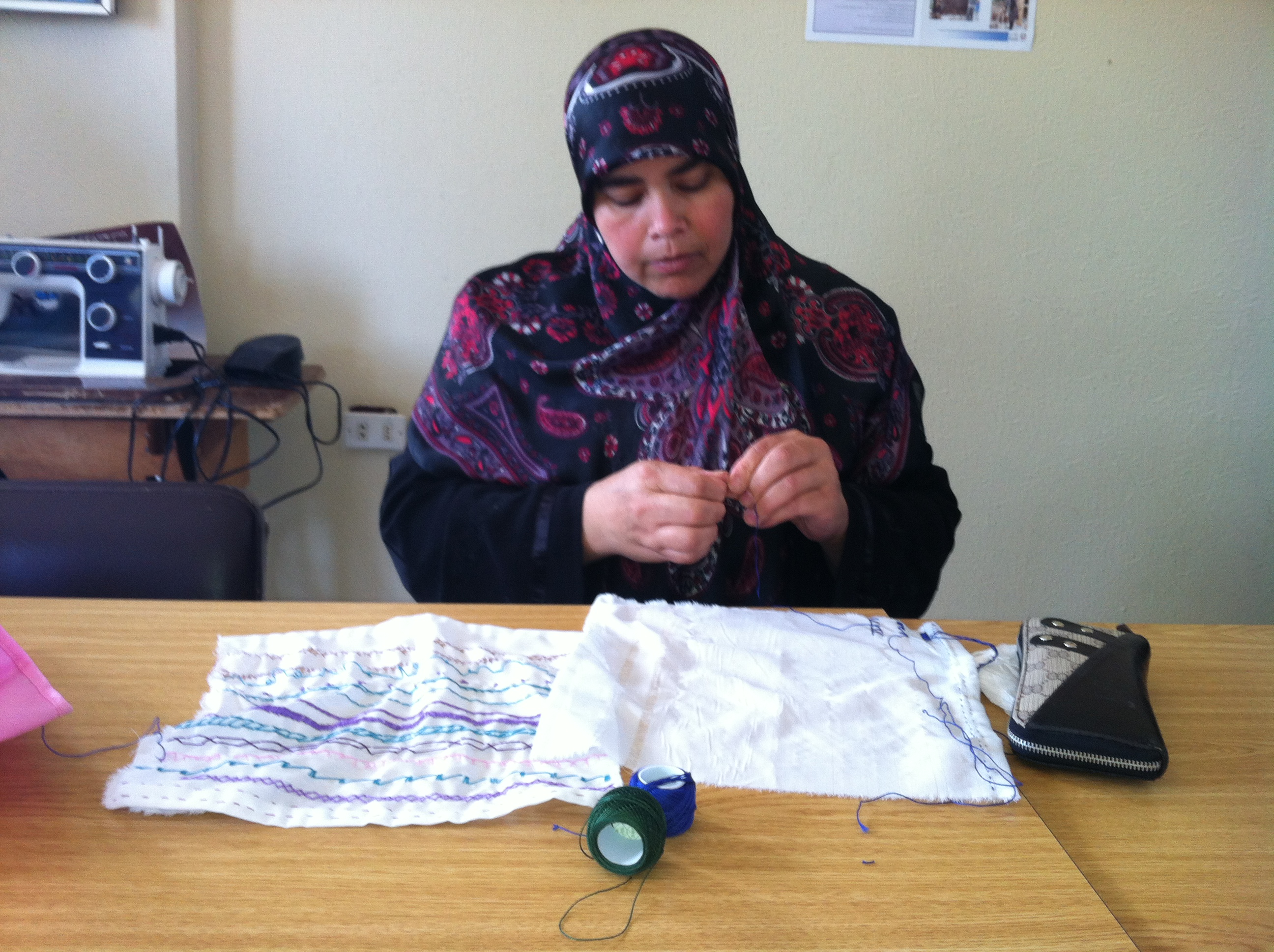 Mme. Izdihar Mahmoud Daoud - 44years old - A widowed mother of 2 children that is having her first experience in Tatreez