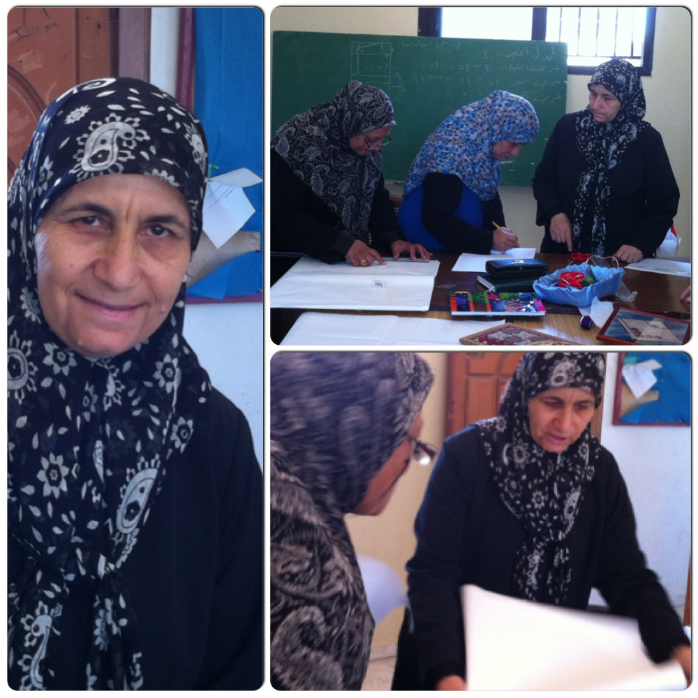 "Mme. Soumaya Saleh Al-Sidik / Tatreez trainer at Bourg Al Chamali camp-Tyre : ""The girls are very serious. I've been giving broidery courses since 2003 but this is the first time I see such implication. There is an obvious competition spirit and curiosity. I guess it's the idea of the cooperative that is encouraging them. I'm satisfied."""