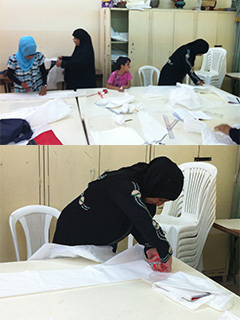 Rashidieh Camp -Learning  the first steps of sewing